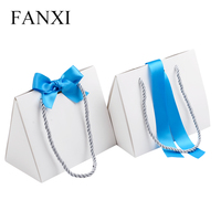 FANXI Free Shipping Custom White Coated Paper With Blue Silk Ribbon For Jewellery And Gift Favors
