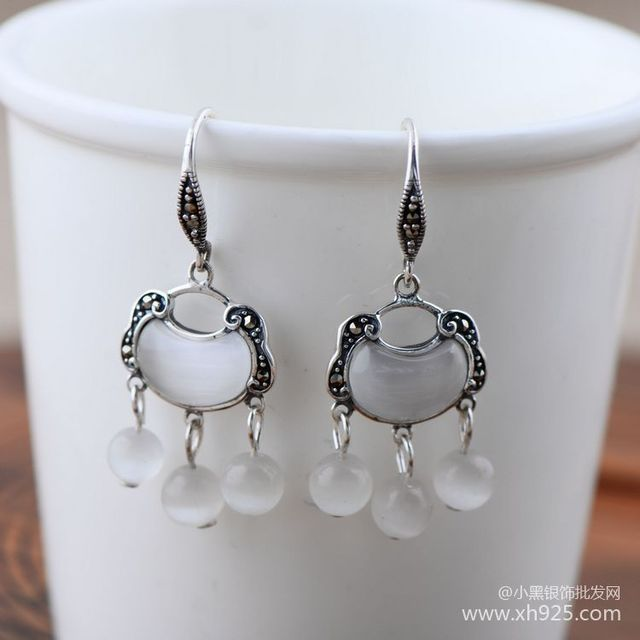 Black silver jewelry wholesale 925 Sterling Silver Jewelry White Opal Tassel Earrings 028881w female