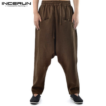 ... pantalones Harem sólido de la entrepierna de la gota amplia pierna  Pantalones de algodón de los hombres de lino Vintage Casual hip-hop  pantalones Plus ... 7f10315c22e