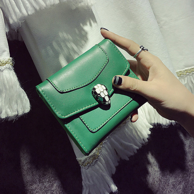 Famous Brand Snake Lock Decoration Wallet Small Zipper Coin Purse Fashion New Girl Wallet with Card Holders Short Style lovely cute cat wallet small zipper coin purse fashion new girl wallet with card holders short pattern designed women wallet qo3