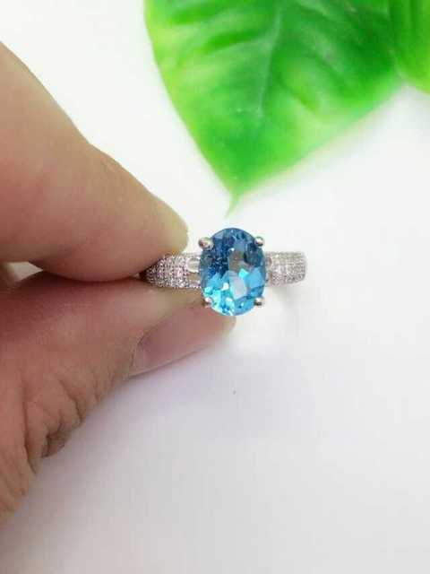 Natural blue topaz stone Ring Natural gemstone Ring 925 sterling silver trendy luxurious Circular round women's party Jewelry