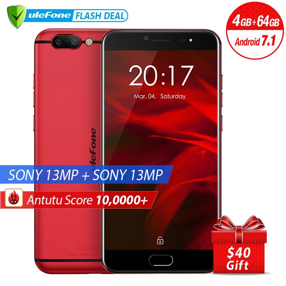 Ulefone Gemini Pro Оригинальный телефон двойная камера 13MP+ 13MP 5.5 дюймов FHD MTK6797 Deca Core Android 7.1 4 ГБ + 64 ГБ Сканер отпечатков пальцев 4G LTE Смартфон