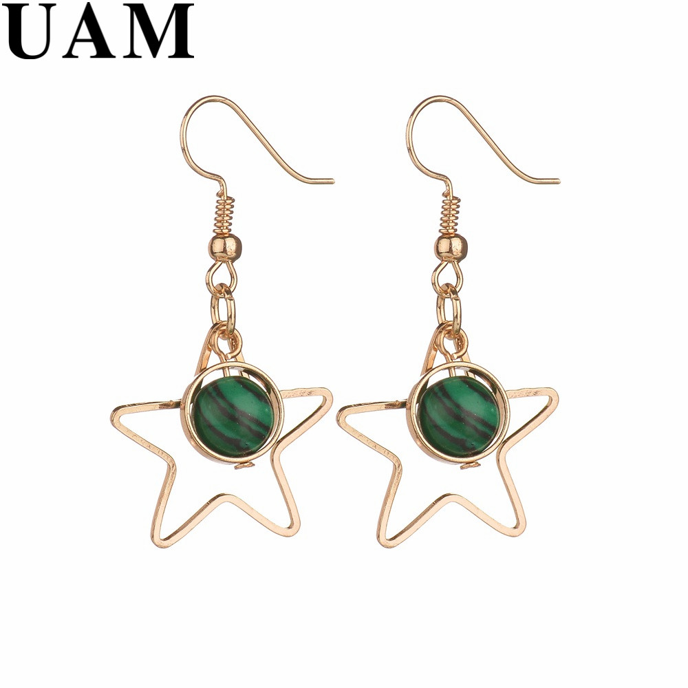 Grey Colour Earrings: UAM Korean Stylish Hollow Gold Color Five Pointed Star