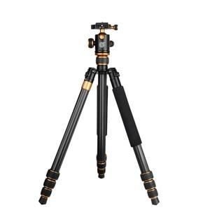 Image 2 - QZSD Q1088C 写真炭素繊維デジタルカメラの三脚軽量胃袋パノラマヘッド一脚カメラアクセサリー Tripodes