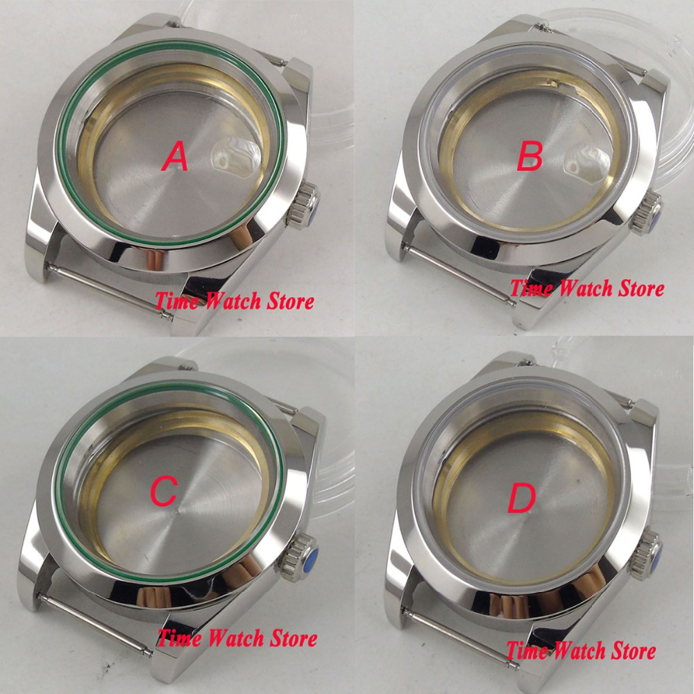 40mm polished 316L stainless steel watch case fit ETA 2824 2836 Miyota 8215 821A movement sapphire glass date magnifier C27 цена и фото