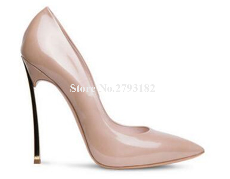 Brand Design Women Fashion Pointed Toe Metal Stiletto Heel Pumps 12cm Super High Heels Formal Dress Shoes Wedding Shoes women classical design silver pointed toe transparent pumps ankle buckle design 12cm high heels formal dress shoes