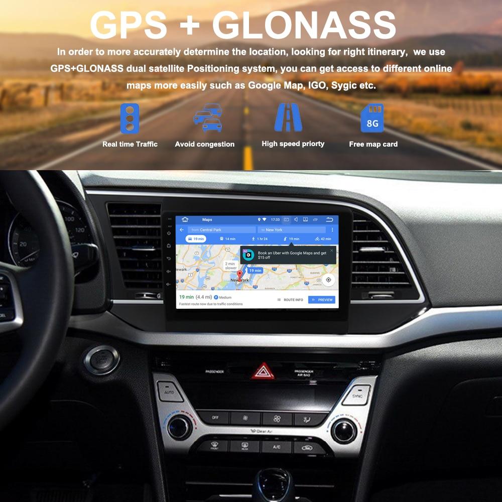 US $360 85 23% OFF|Autoradio Android 8 0 1 din Car GPS Radio for Hyundai  Elantra 2016 2017 9