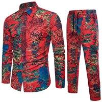 New Fashion Thin Men's Set Shirt and Pants Full Length Casual Shirt Suit 3d Printed Male Wear Men Set Plus Size