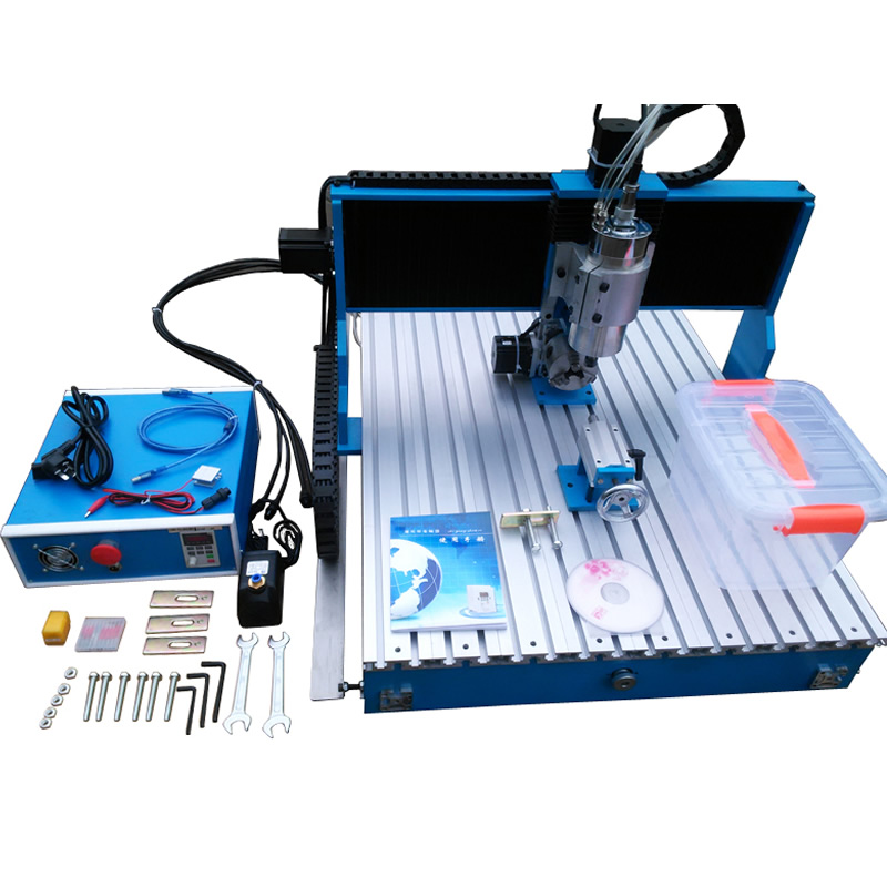 2.2KW CNC 6090 3D Engraving Machine Linear Guide Rail 4 Axis CNC Router Milling Machine USB / Parallel port cnc milling machine cnc 6090 4 axis engraving machine carving router