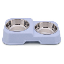 Anti-skid cat bowl stainless steel dog portable double