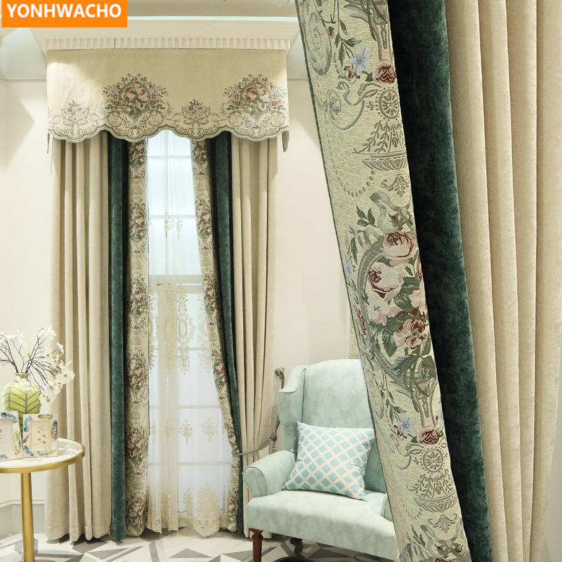 Custom Curtains Vintage Classical Thick Chenille Gorgeous Villa American Beige Cloth Blackout Curtain Tulle Valance Drape B303