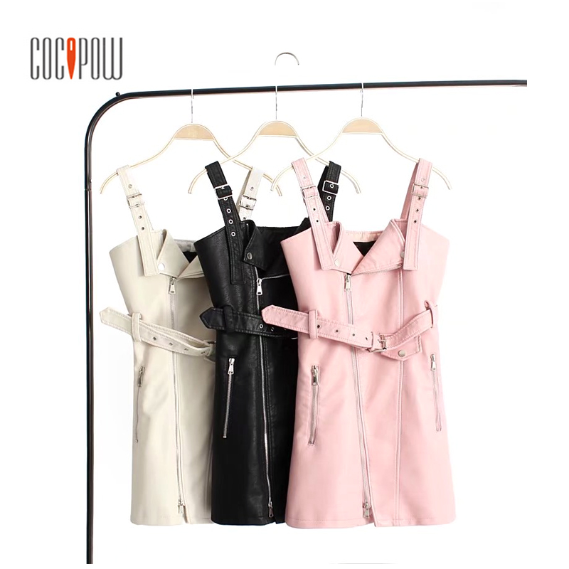 Fashion PU leather dress women V neck mini sexy dress Sash zipper winter black short dress sundress vestido de festa S1523