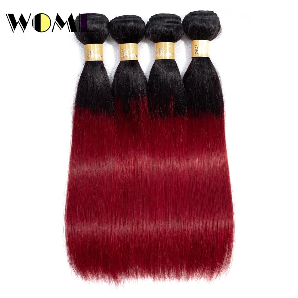 Wome Malaysian Straight Hair Burgundy Bundles Human Hair Weave Non Remy Ombre 1b/burgundy Hair Extension 10 26 inch 4 Bundles