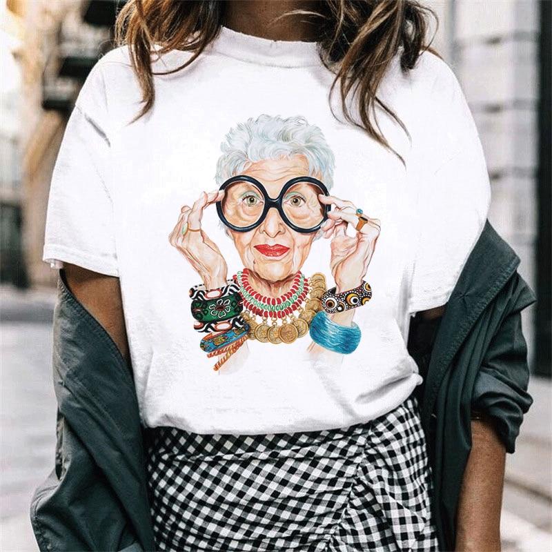 Tumblr Vintage Fashion Summer Korean Harajuku Ulzzang Kawaii Casual Old Woman Print Chic Graphic Soft O-neck Funny T Shirt Women