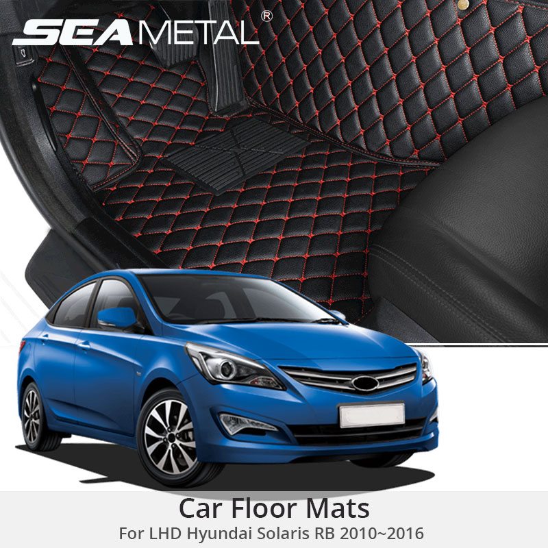 For LHD Hyundai Solaris RB 2016 2015 2014 2013 2012 Car Floor Mats Custom Fit Leather Rugs Cargo Liners Pads Auto Accessories