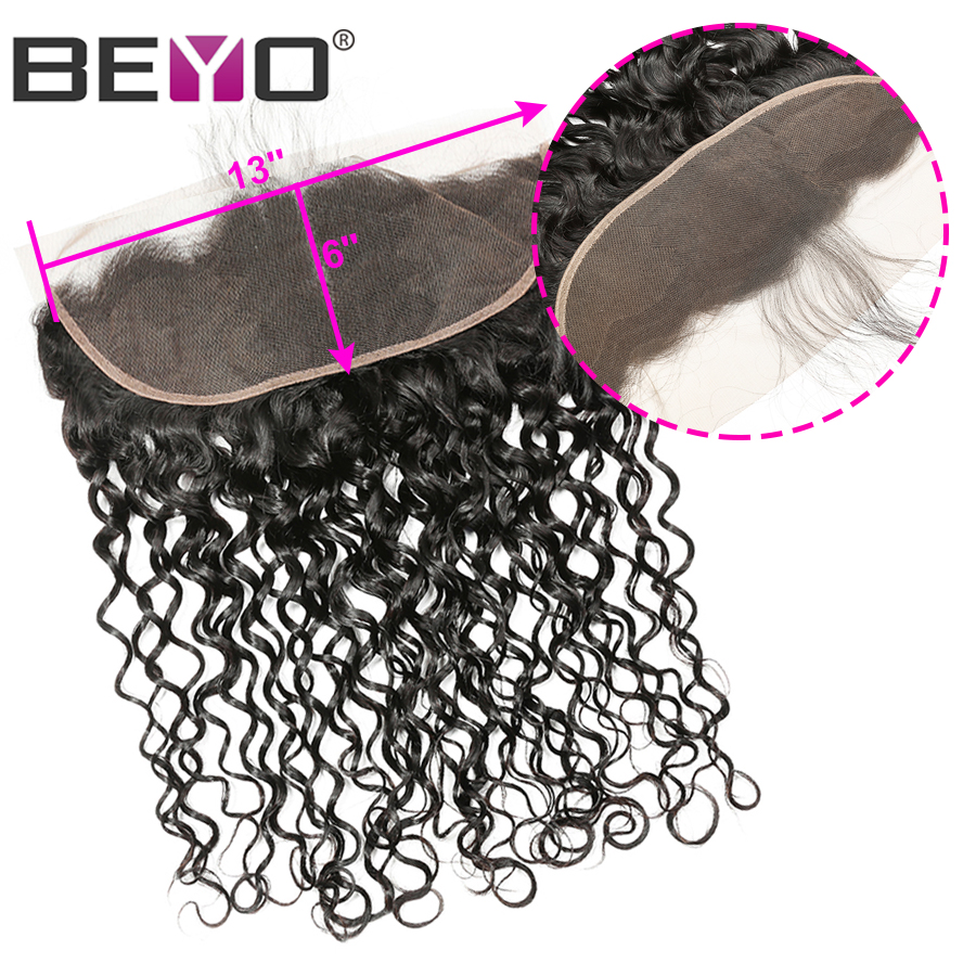 Water Wave Frontal Closure Brazilian Hair 13x6 Lace Frontal Closure Free Middle Three Part Human Hair