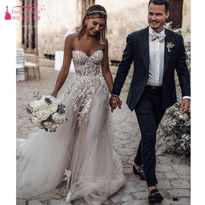 Boho Summer Beach Wedding Dresses Sweetheart Neck Full Lace Appliques Beach Bridal Gowns Cheap Custom Made Illusion Back JQ243