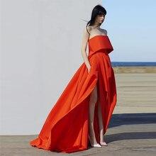 Verngo 2019 Fashion Living Coral Evening Side Slit Dress Evening Dresses Long Rose Red Formal Dress Robe De Soiree rose print slit back pencil dress