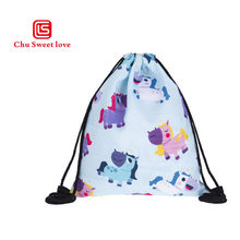 New Style Unicorn Drawstring Bag For Girls Travel Storage Package Cartoon Cute School Bags Children Birthdap Party Favors(China)