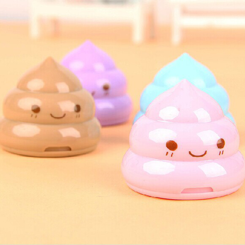 Kawaii Shit Pencil Sharpener Shape Cutter Knife Double Orifice Double Pole Piece Promotional Originality Gift Stationery