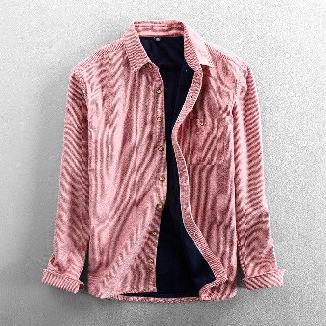 الرجال الخريف والشتاء ماركة الموضة اليابان نمط شريط فضفاض الصوف الدافئة سميكة طويلة الأكمام قميص الذكور عادية الأزرق الوردي قميص