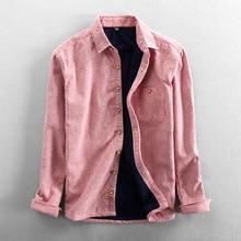 T607 Men Autumn Winter Fashion Brand Japan Style Stripe Loose Fleece Warm Thick Long Sleeve Shirt Male Casual Blue Pink Shirt
