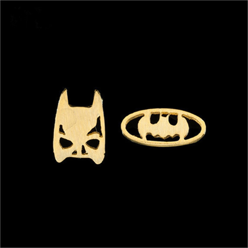 GORGEOUS TALE 10pairs/lot Stainless Steel Superman Mask And Batman Bat Mask Stud Earrings For Women Men Halloween Gift E134