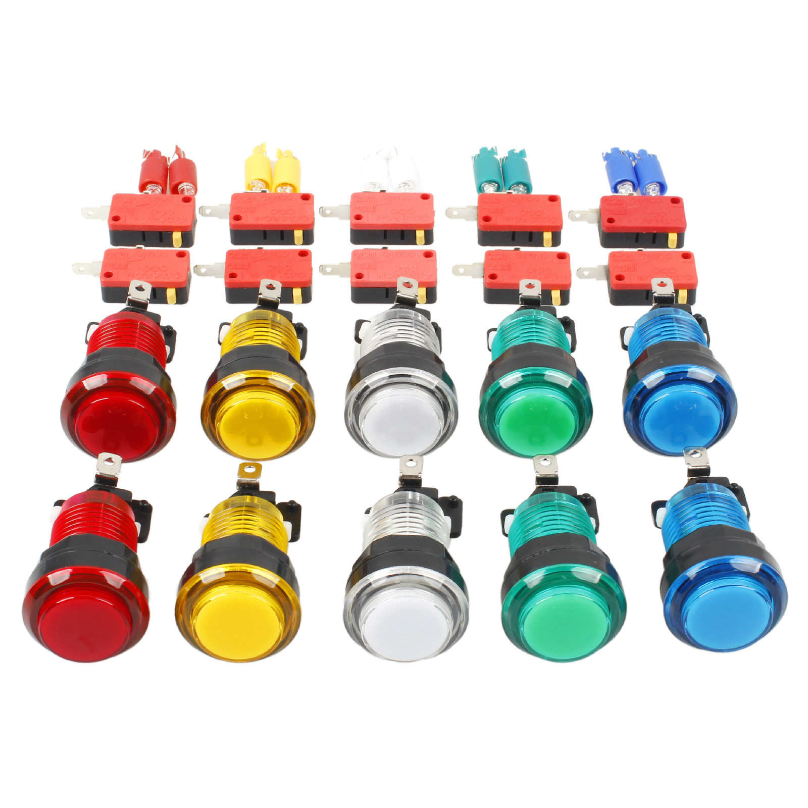 10x Neue 30mm Volle Farben LED Lit Beleuchtete Tasten Für Arcade Maschine DIY Kits Spiele Teile