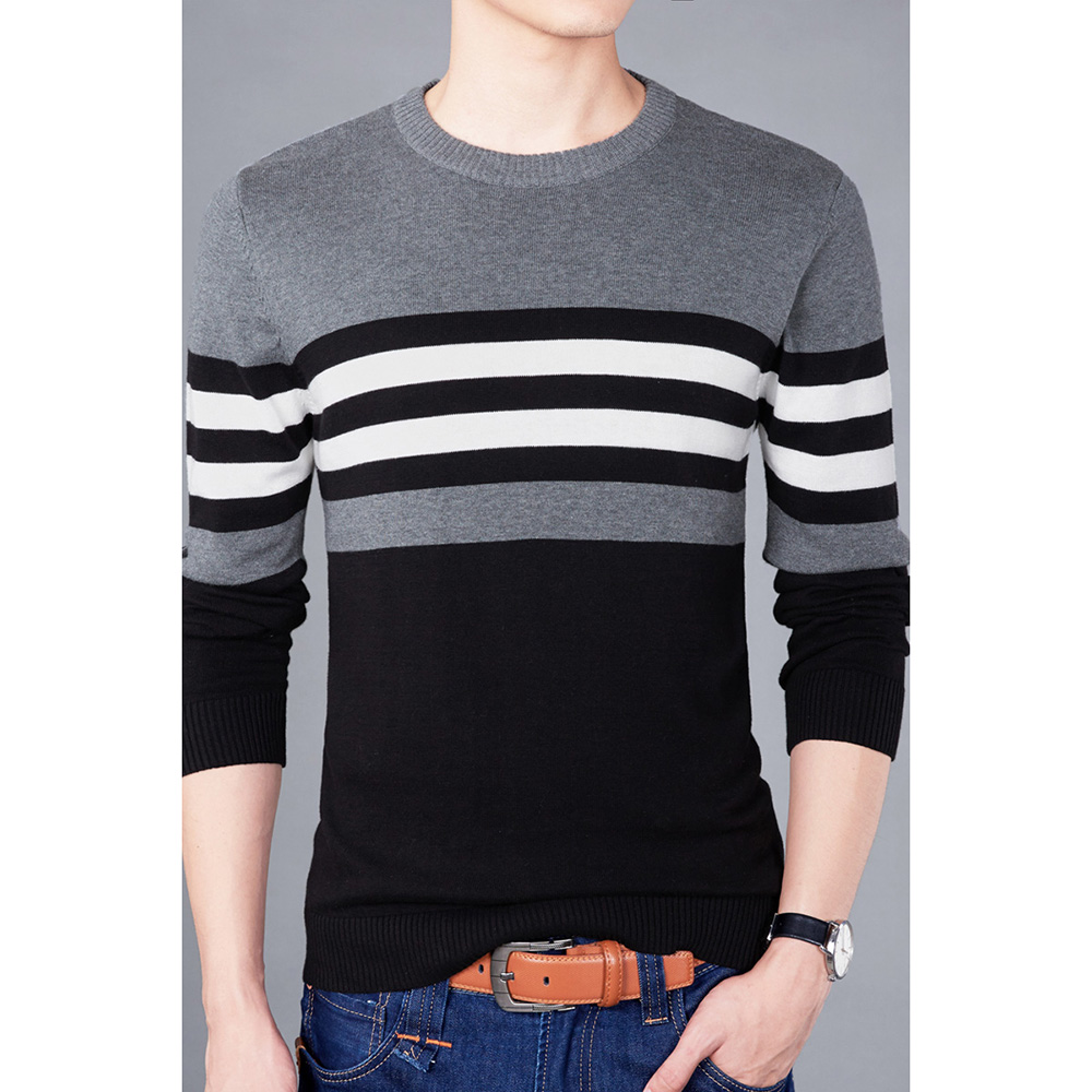2020 New Autumn Fashion Brand Casual Sweater O Neck Striped Slim Fit Knitting Mens Sweaters And Pullovers Men Pullover Men B0275