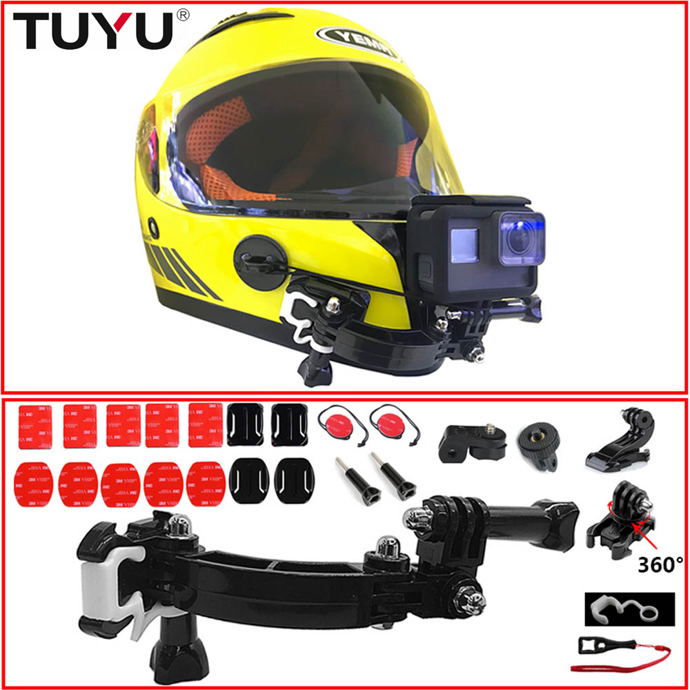 TUYU For Gopro Accessories 4 Ways Turntable Button Mount For Hero7 6 5 DJI OSMO Action SJCAM EKENM Otorcycle Helmet Chin Bracket