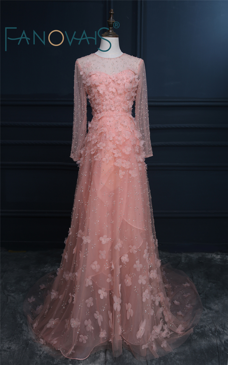 2019 Pink   Prom     Dresses   Long   Prom     Dresses   Long Sleeve See Through Tulle   Prom     Dress   vestido de festa Luxurious Evening Gowns