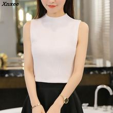 Xnxee 2018 Women sweater The Korean version of the new spring summer half knitted vest slim sleeveless blouse shirt sling