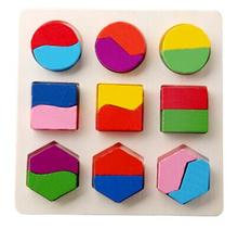 hot deal buy colorful geometric shape puzzle baby kids wooden learning educational toys children early learning 3d shapes wood jigsaw puzzles