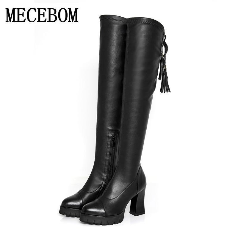 7ee93c77062 2017 new Fashion PU Leather Autumn winter Over Knee Boots Women Sequined  Toe Elastic Stretch Thick Heel High Riding Boots 6631W