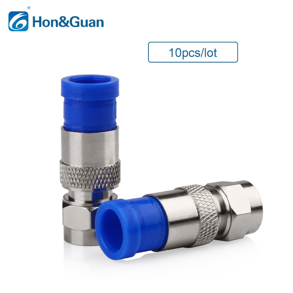 Hon&Guan 10pcs/lot RG6 Connector Coax Coaxial Compression Fitting Compression Coax F Connector; Waterproof, Anti-corrosion смеситель для кухни timo tetra 0173f chrome хром