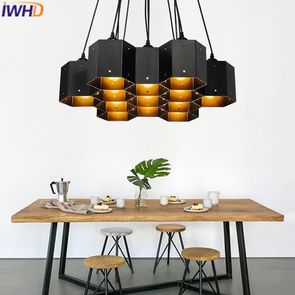 IWHD Style Loft Industrial Retro Pendant Lights 6 heads Iron Vintage Lamp Kitchen Black Pendant Lamp Edison Light Fixtures iwhd iron loft style vintage pendant lights retro industrial lamp black cage hanging lamp kitchen wicker luminaire suspendu