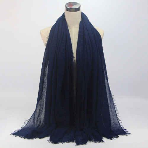 180x100 cm bufandas de Hijab lisas de burbujas de algodón con flecos chales de silenciador musulmán populares envuelve pashmina grande