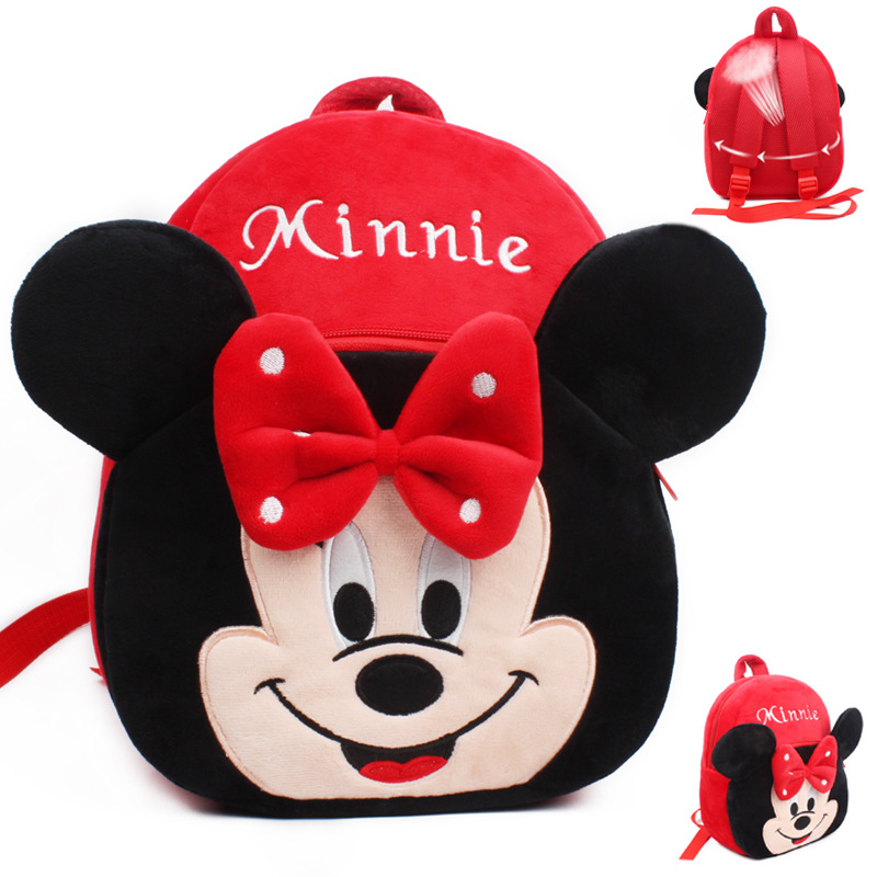 Mochila Escolar Mickey Minnie Baby Schoolbag Kindergarten 2-3-4 Year Old Children Plush Backpack Travel Food Bag For Kids