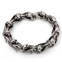 Skeleton Charm Bracelet Snake Polished Stainless Steel Animal Jewelry Personality Punk Cloth Accessories
