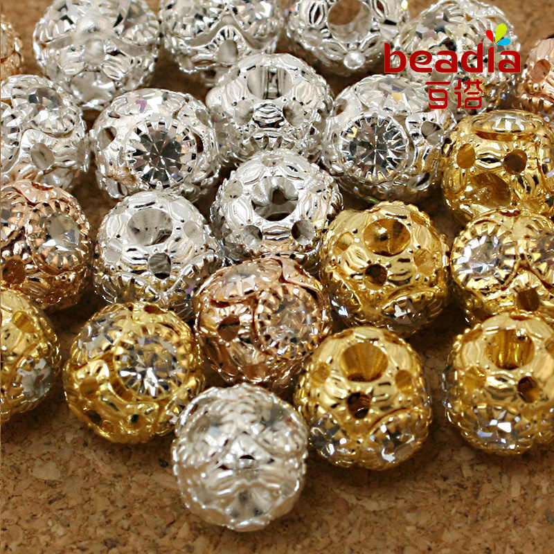 10-20pcs Metal Gold/Black Crystal White Rhinestone Big Hole Spacer Round Beads for DIY Jewelry Making Bracelet Accessories