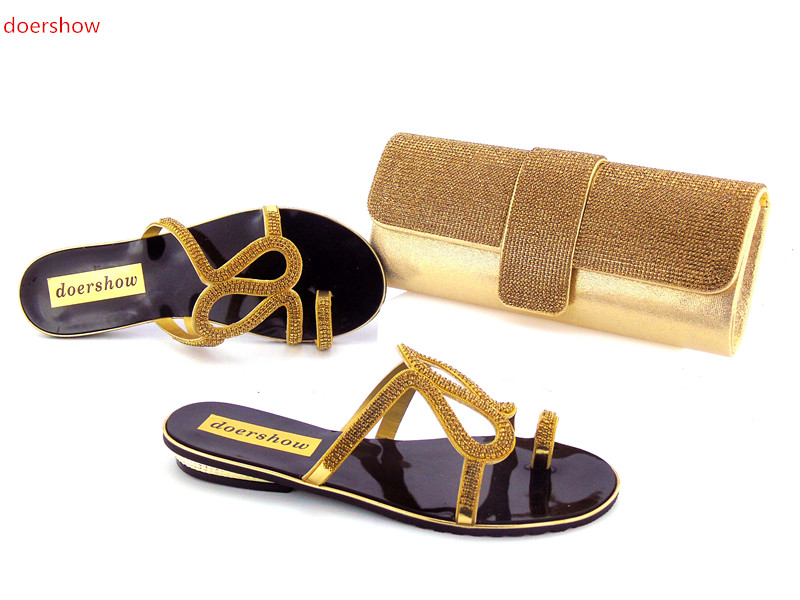 doershow Shoes and Bag Set African Sets 2017 Ladies Italian Shoes and Bag Set Decorated with Rhinestone Nigerian Shoes !HZO1-12 african style nicelooking italian matching shoes and bag set ladies shoes and bag to match for nigerian wedding doershow wtt1 22