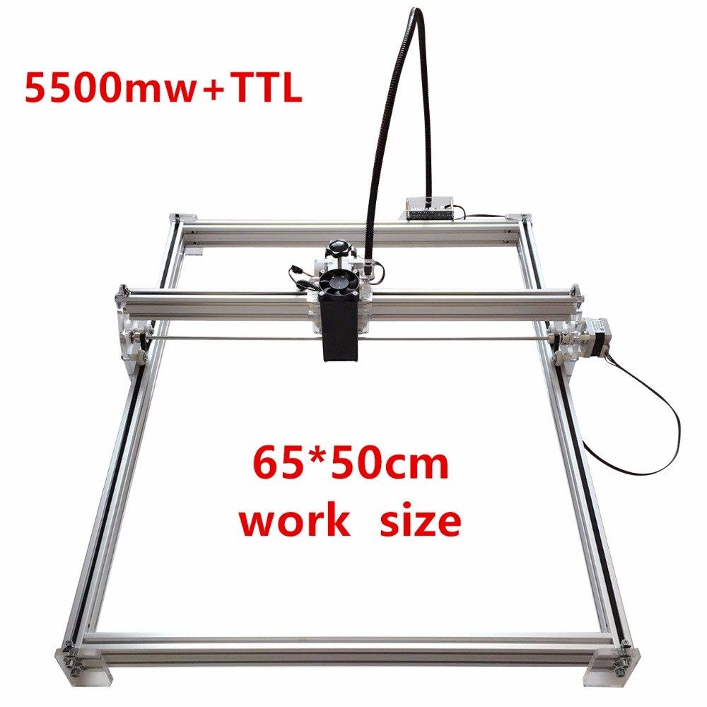 CNC Router Engraver Machine Kit 2 Axis Desktop DIY Mini Wood Carving Engraving Cutting Milling Machine 3D Printer Kit 2000mw Head 65cm x 50cm Working Area