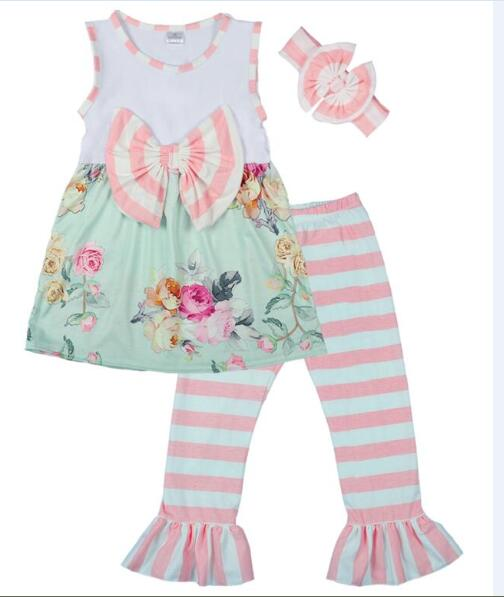 Girls 3 Pcs Clothing Sets Sleeveless Floral With Bow Top Stripes Ruffle Pants Boutique Children New Style Outfits 2GK712-051Girls 3 Pcs Clothing Sets Sleeveless Floral With Bow Top Stripes Ruffle Pants Boutique Children New Style Outfits 2GK712-051