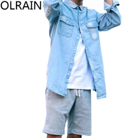 Olrain Nam Giới Hip Hop Màu Xanh Đau Khổ Washed Denim Shirts Dài Tay Khi Đi Đường Ripped Lỗ Jean Áo Swag Tyga Top Tee
