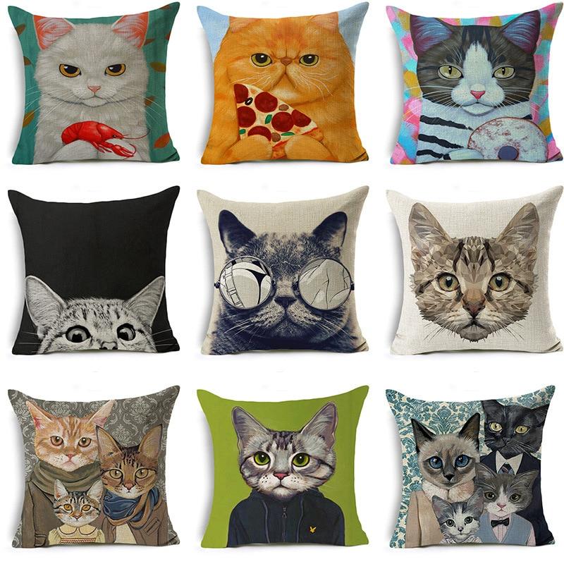 Fashion Lovely Cartoon Mr.cat Print Sofa Cushion Covers 45x45cm Waist Pillow Cover Home/office Living Room Decorative Pillowcase Home Textile
