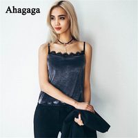 Ahagaga 2017 Spring Summer Women Sexy Velvet Lace Camis Fashion Elegant Cute Tank Camis For Women