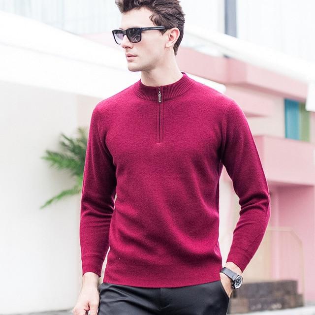 Novos homens 100% Pura Lã Meia Altura Zíper Engrossado Camisola Gola Outono Inverno Casual tamanho S-2XL Computador Malha Sweatercoat