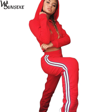 Two Piece Set Tracksuits Women Crop Tops Hoodies Sweatshirt Long Sleeve Casual Sportswear Drawstring Hooded Pullover Sweatpants