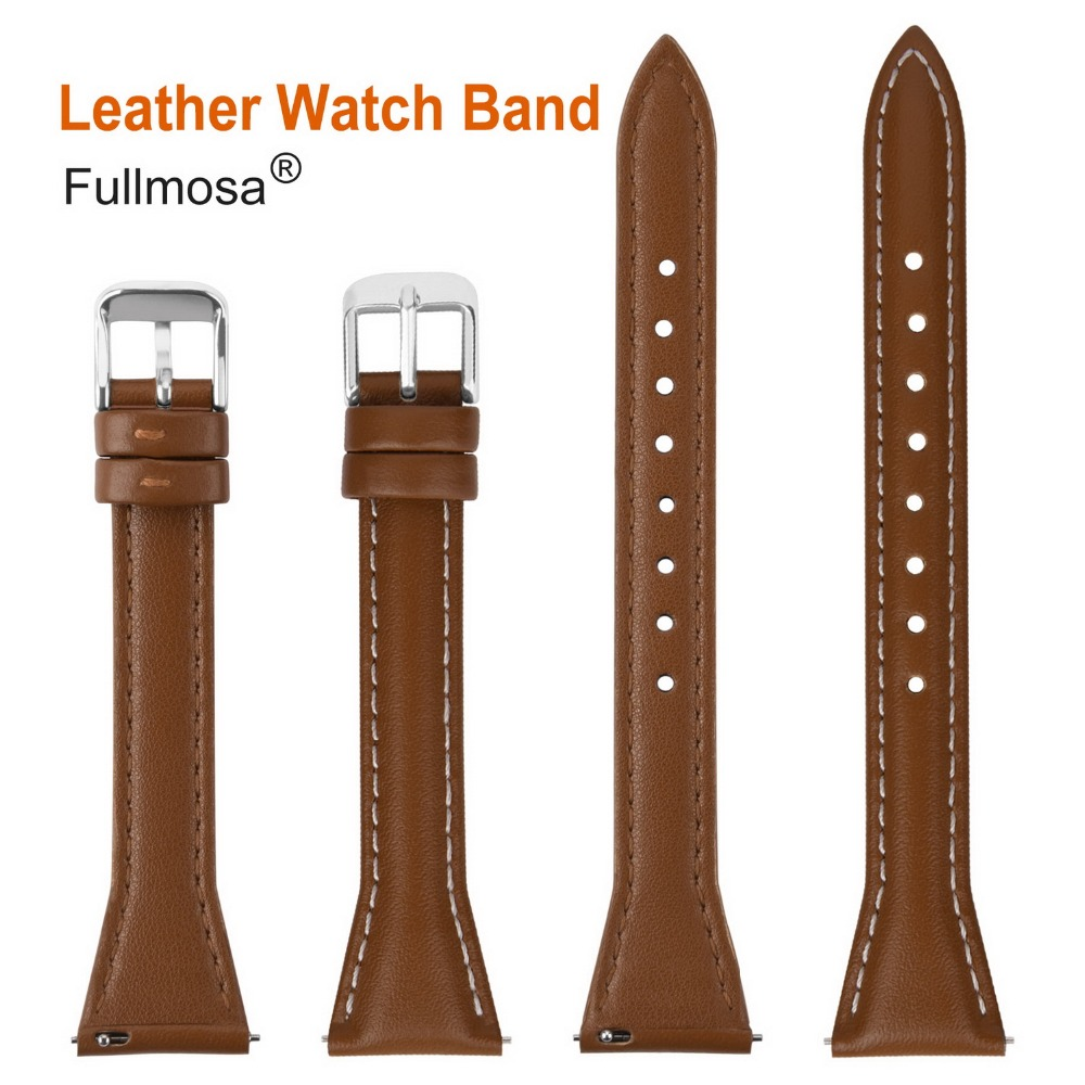 Image 3 - Fullmosa Sliim Leather Watch Band, Classic Narrow Leather Watch Strap with Quick Release for Men Women 18/20/22mm 5 Colors-in Watchbands from Watches