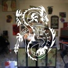лучшая цена Oriental Asian Dragon Wall Sticker vinyl home decor room window decor Tattoo Shop mural removable wallpaper door sticker A156